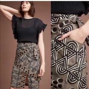 Anthropologie printed wrap skirt with belt